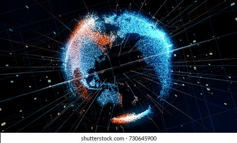 Holographic planet earth. technological background.