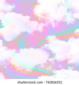 Holographic Unicorn Cloud and Rainbow Galaxy Print  Seamless Pattern in Repeat