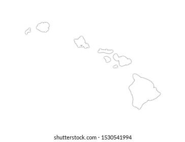 hawaï holokai oahu maui kauai map illustration on white background