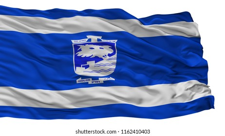 Holon City Flag, Country Israel, Isolated On White Background