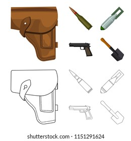 Holster, cartridge, air bomb, pistol. Military and army set collection icons in cartoon,outline style bitmap symbol stock illustration web.