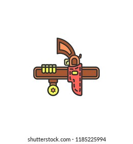 holster for the pistol colored icon. Element of wild west icon for mobile concept and web apps. Cartoon holster for the pistol icon can be used for web and mobile