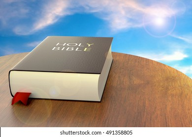 Holy Bible, leather bound, on blue sky background
