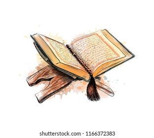 holy book of the Koran hand drawn sketch