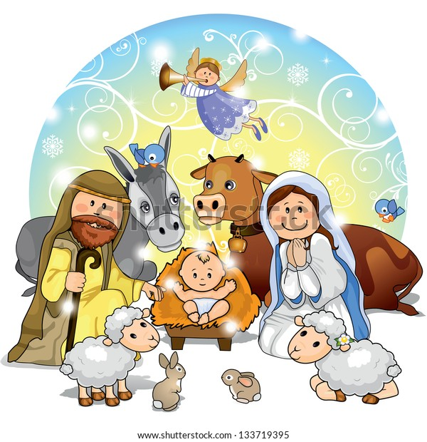 Holy Family with animals and background decorations