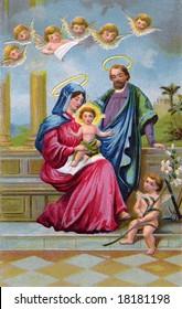 Holy Family - vintage Christmas illustration of Christ child
