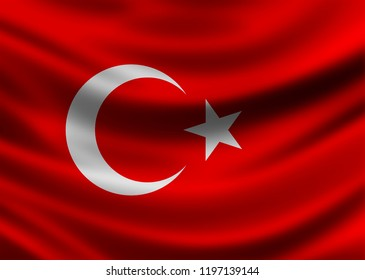 The holy flag of the moon and star of Turkey in Asia and Europe