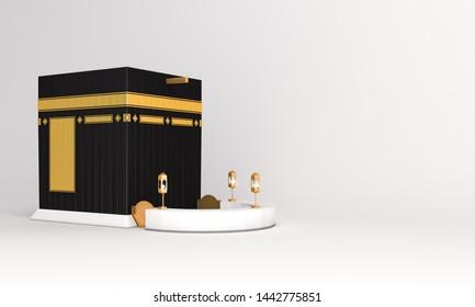 Holy Kaaba on white background. Design concept of islamic celebration eid al adha or hajj. 3D  illustration. 3D rendering illustration.