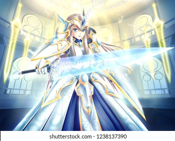 Holy knight with swords's spell.