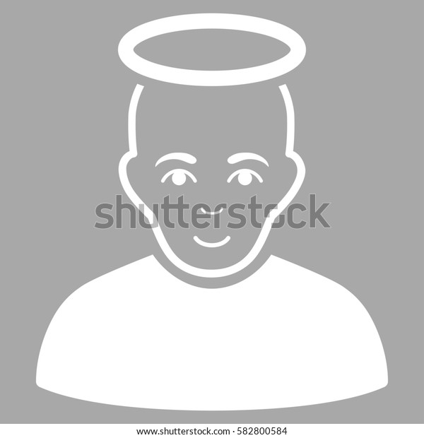 Holy Man glyph icon. Flat white symbol. Pictogram is isolated on a silver background. Designed for web and software interfaces.