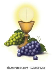 Holy Sacrament chalice wine grapes