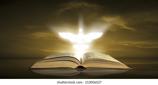 The Holy spirit appears over the Bible