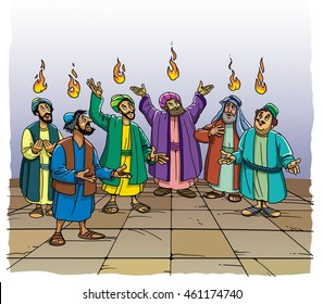 The Holy Spirit comes upon the disciples in the form of fire at Pentecost