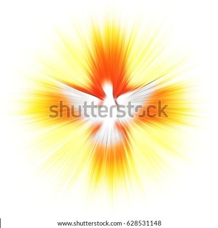 Holy Spirit Pentecost Confirmation Symbol Dove Stock Illustration