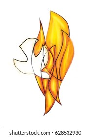 Holy Spirit, Pentecost symbol with a dove, flames or fire. Abstract modern religious digital illustration made without reference image.