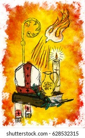 Holy Spirit and Sacrament of Confirmation - Dove with seven rays, holy chrism oil, Bible, bishop's miter and staff, candle, olive branch. Digital abstract drawing made without reference image.