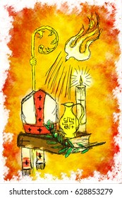 Holy Spirit and Sacrament of Confirmation - Dove with seven rays, holy chrism oil, Bible, bishop's miter and staff, candle and olive branch. Digital abstract drawing made without reference image.