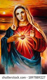 Holy Virgin Mary with a heart. Mother of Jesus Christ, Catholic Christian Church. Oil painting