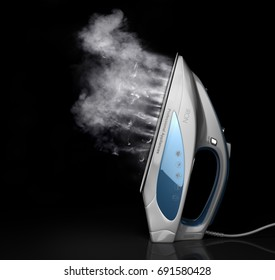 Home appliance. Iron with water steam on a black background. 3d illustration