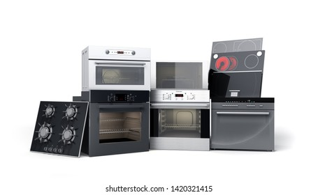 Home appliances built in Group of white 3d render on white