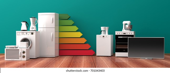 Home appliances and energy efficiency ranking. 3d illustration