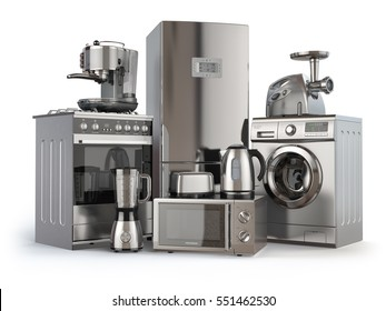 Home appliances. Gas cooker, refrigerator,  microwave and  washing machine, blender  toaster  coffee machine, meat ginder and kettle. 3d illustration