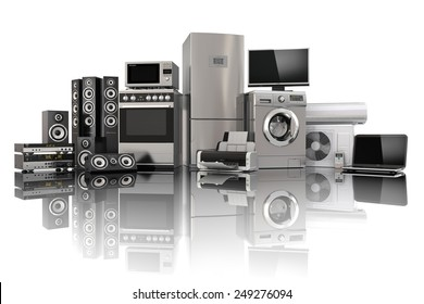 Home appliances. Gas cooker, tv cinema, refrigerator air conditioner microwave, laptop and washing machine. 3d