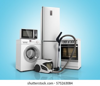 Home appliances Group of white refrigerator washing machine stove microwave oven vacuum cleaner on blue gradient background 3d