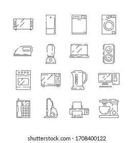 Home appliances icon. Electrical household items computer tv refrigerator microwave thin line isolated