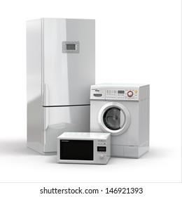 Aparatos domésticos. Frigorífico, microondas y lavadora.3d