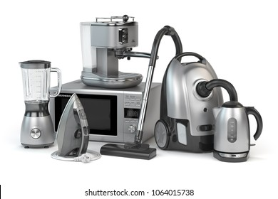 Home appliances. Set of household kitchen technics isolated on white background. Microwave oven, vacuum cleaner,  iron blender and teapot. 3d illustration