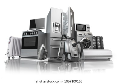 Home appliances. Set of household kitchen technics isolated on white background. E-commerce online internet store of appliances. 3d illustration