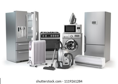 Home appliances. Set of household kitchen technics isolated on white background. Fridge, gas cooker, microwave oven, washing machine vacuum cleaner air conditioneer and iron. 3d illustration