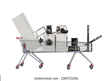 Home appliances in the shopping cart E-commerce or online shopping concept 3d render on white no shadow