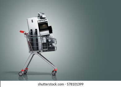 Home appliances in the shopping cart E-commerce or online shopping concept 3d render on grey gradient