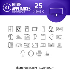 Home applience icons set with heading