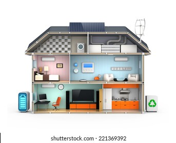 Home automation concept. Isolated on white background. No text.