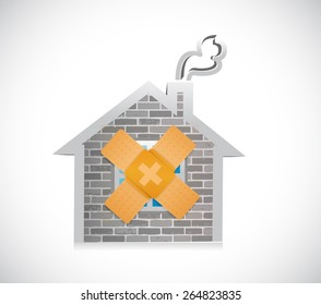 home bandage fix solution concept illustration design over white background