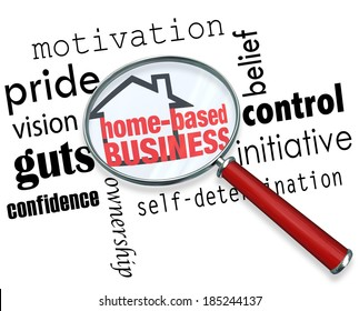 Home Based Business Words Magnifying Glass Advice