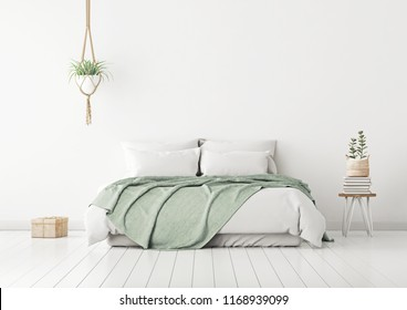 Home bedroom interior mockup with bed, green plaid, pillows and plants on empty white wall background. 3D rendering.
