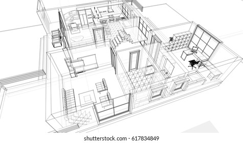 home building, scheme, sketch, 3d illustration