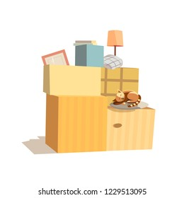 Home change icon. Package to move to new house, moving cardboard boxes, domestic animal pussy cat. Relocation to apartment, paper container delivery packing. Comic fancy cartoon illustration