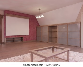 Home cinema in the attic in a modern style in burgundy and white colors. 3D rendering