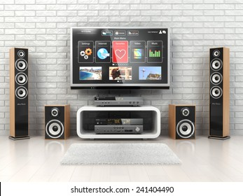 Home cinema system. TV,  loudspeakers, player and receiver  in the room. 3d