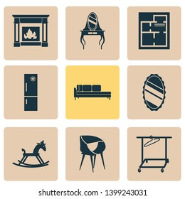 Home decoration icons set with clothing rack, daybed, fire place and other refrigerator elements. Isolated  illustration home decoration icons.