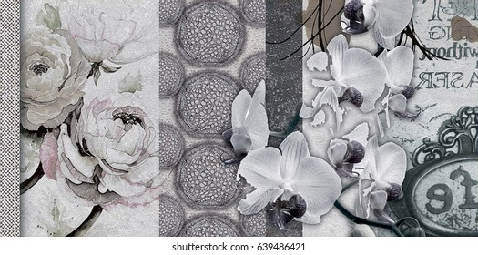 home decorative canvas flower paint tiles pattern design background,