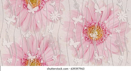 home decorative flower paint type wall tiles design background,