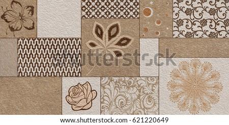 Home Decorative Wall Tiles Design Background Stock Illustration
