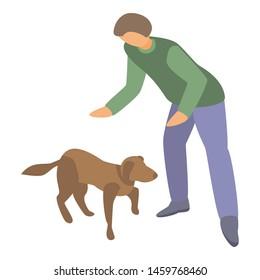 Home dog training icon. Isometric of home dog training icon for web design isolated on white background