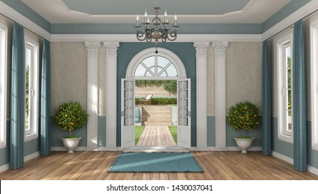 Home entrance of a luxury villa in classic style with garden on background - 3d rendering